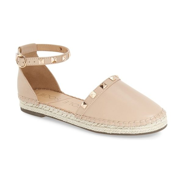 Sole Society berlin studded ankle strap espadrille in light camel - Gleaming goldtone studs highlight a trend-right...