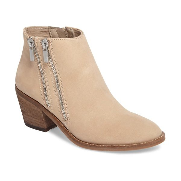 Sole Society bonny three zip bootie in biscotti - Twin decorative zippers angle rakishly up the outside of...