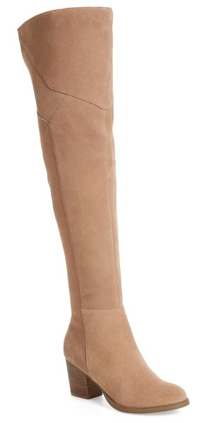 Sole Society catalina over the knee boot in night taupe suede - Exposed seams lens a handcrafted, patchwork look to a...