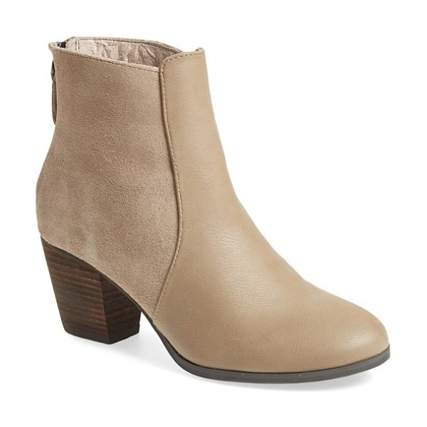 Sole Society chris bootie in taupe faux leather - A stacked heel and round toe amp up the versatility of a...