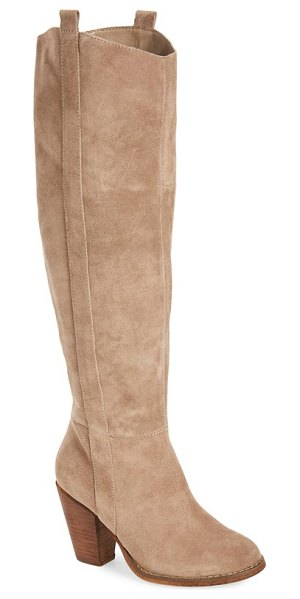 Sole Society 'cleo' knee high boot in taupe suede - A svelte almond-toe boot cut from lush suede features a...