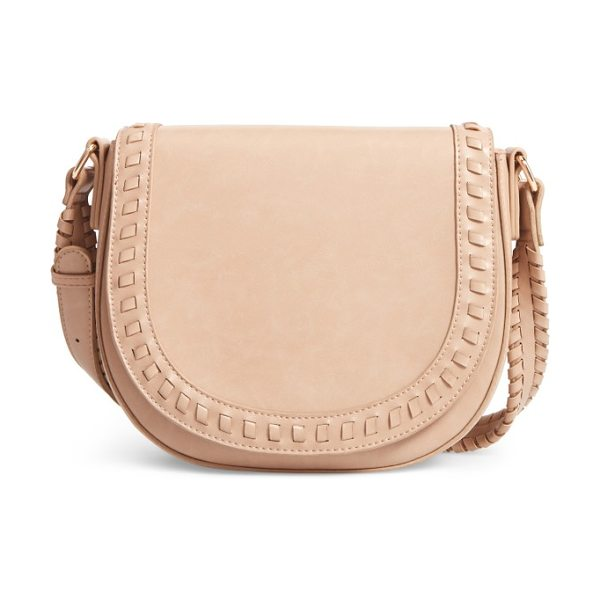 SOLE SOCIETY clovey faux leather saddlebag in taupe - Whipstitched trim and a '70s-inspired saddlebag...