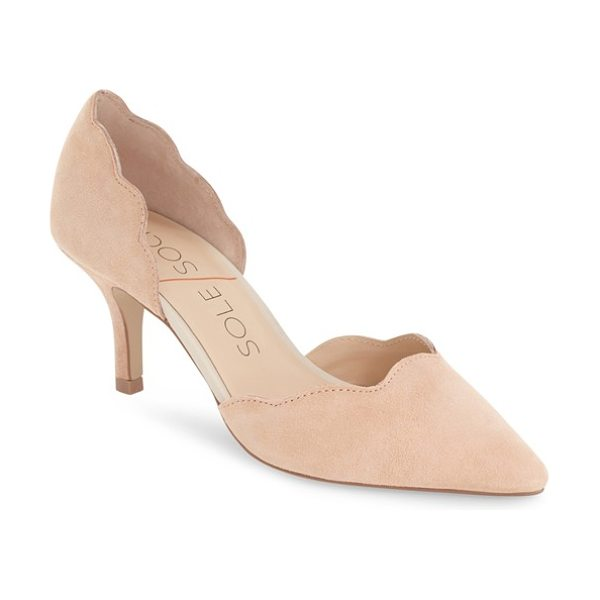 Sole Society coralie scalloped pointy toe dorsay pump in light camel suede - Scalloped edges further the feminine elegance of a chic,...