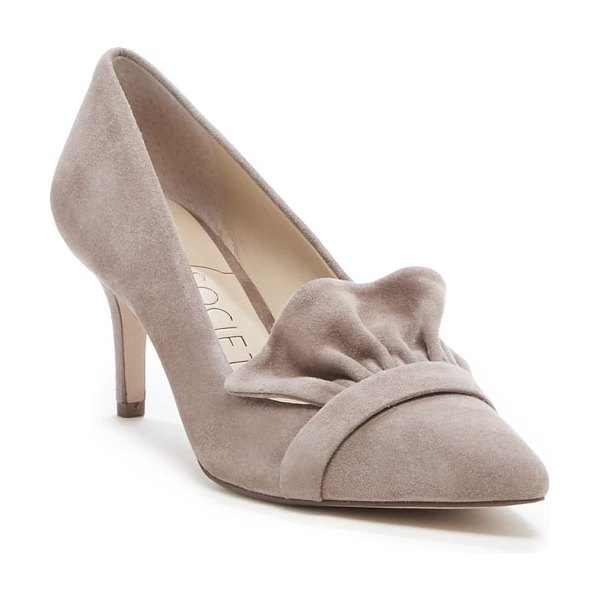 Sole Society darbia ruffle pointy toe pump in brown