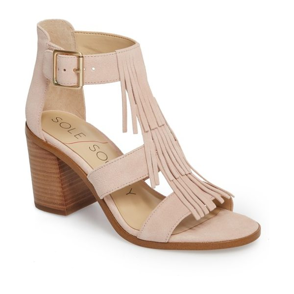 Sole Society 'delilah' fringe sandal in pink - Layered cascading fringe furthers the trend-right style...