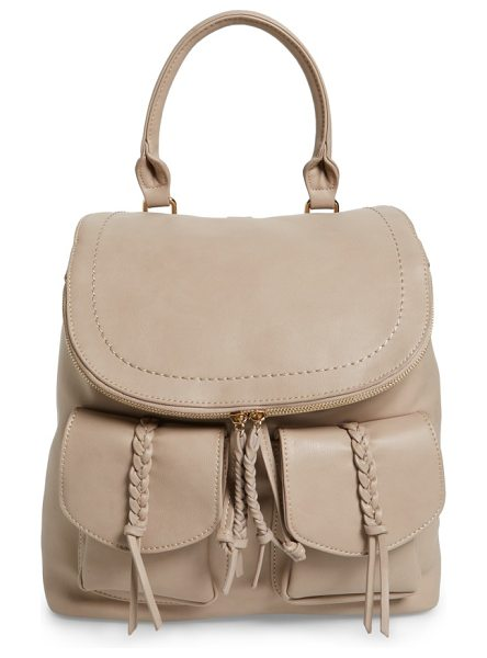 Sole Society dixon faux leather backpack in taupe - Braided tassels and a '70s-inspired saddle flap further...