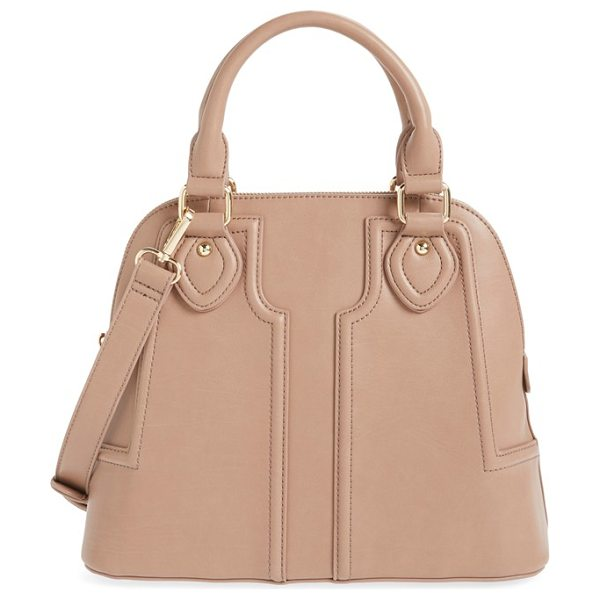 Sole Society dome satchel in taupe - Supple leather construction accentuates the vintage-chic...