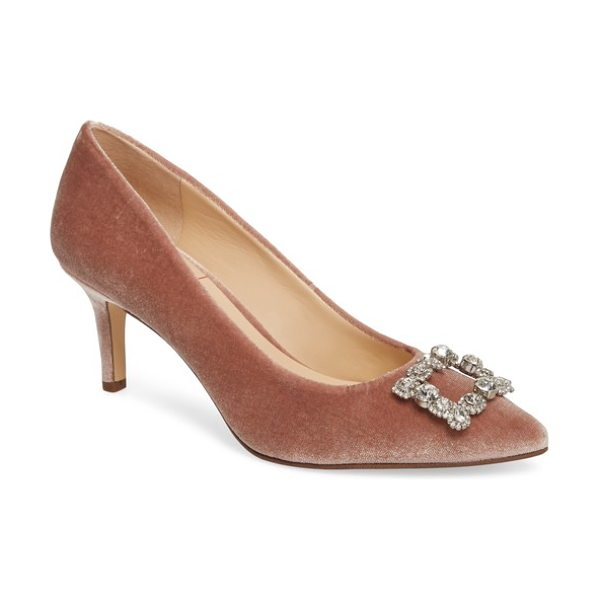 Sole Society edilina crystal buckle velvet pump in mahogany rose - A dazzling crystal brooch and lush velvet add to the...