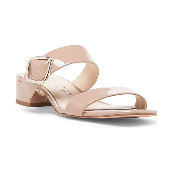 Sole Society emberlise slide sandal in beige - A diamond-shaped buckle in shiny metal complements the...
