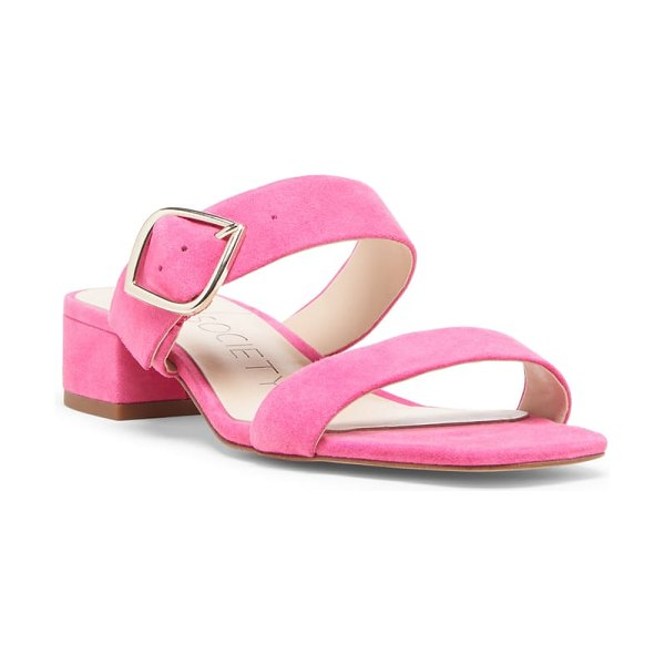 Sole Society emberlise slide sandal in pink - A diamond-shaped buckle in shiny metal complements the...