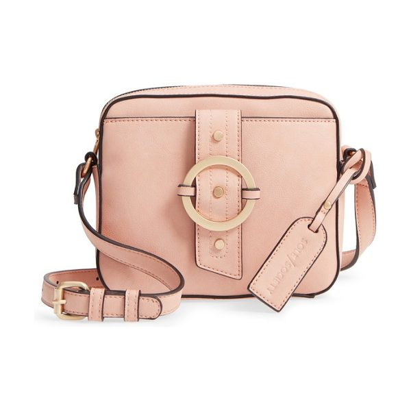 Sole Society faux leather camera crossbody bag in pink sand - Smart contrast piping traces a stylishly structured...