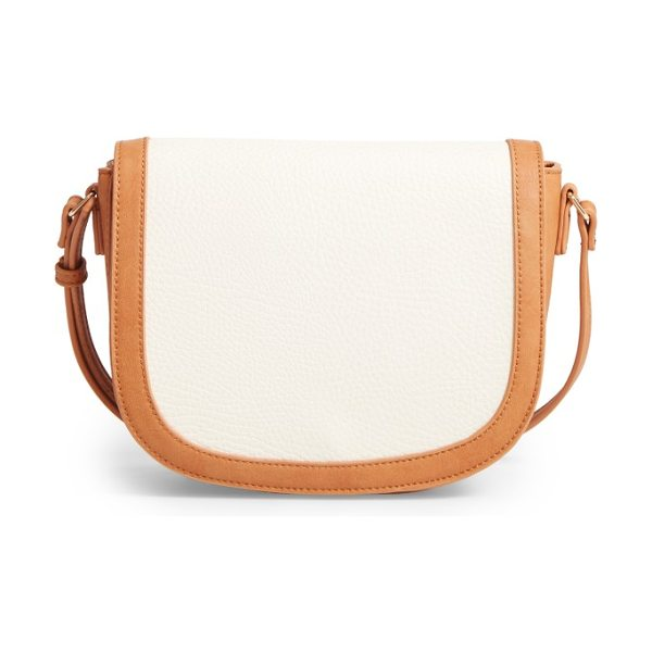Sole Society finnigan faux leather crossbody bag in cream/ camel - A smart mix of textures and a trend-savvy saddle bag...