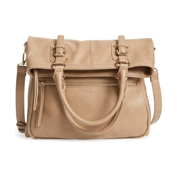 Sole Society charlie foldover tote in taupe - Wear this chic bag as a crossbody for a classic...