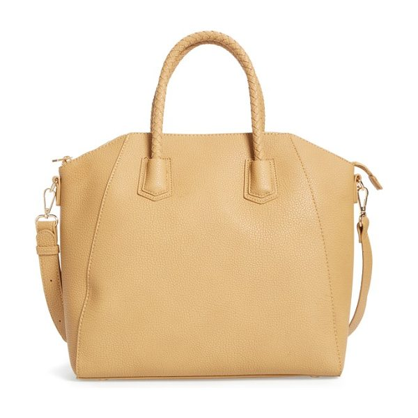 SOLE SOCIETY giada braided faux leather satchel in camel - Braided handles and gleaming goldtone hardware style a...