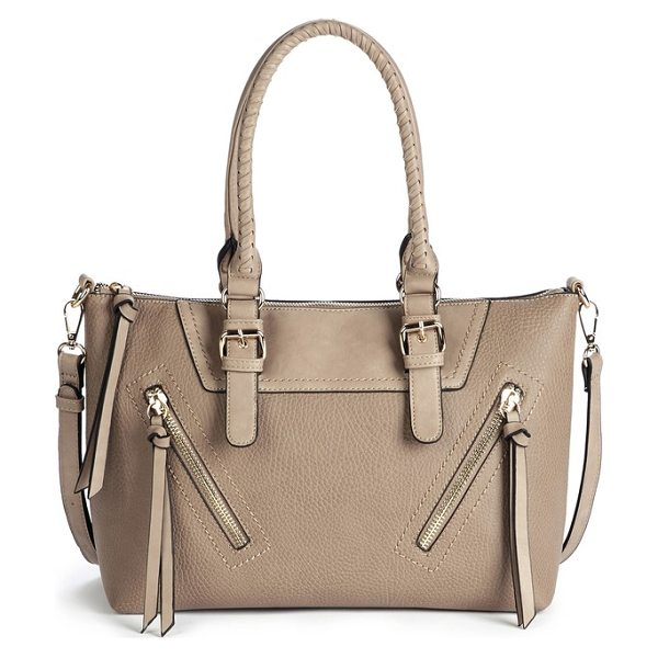 Sole Society girard faux leather satchel in sand - Whipstitched top handles and gleaming hardware keep this...