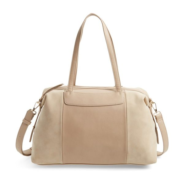 Sole Society greyson two-tone faux leather & faux suede duffel in taupe - A roomy satchel that's big enough to handle...
