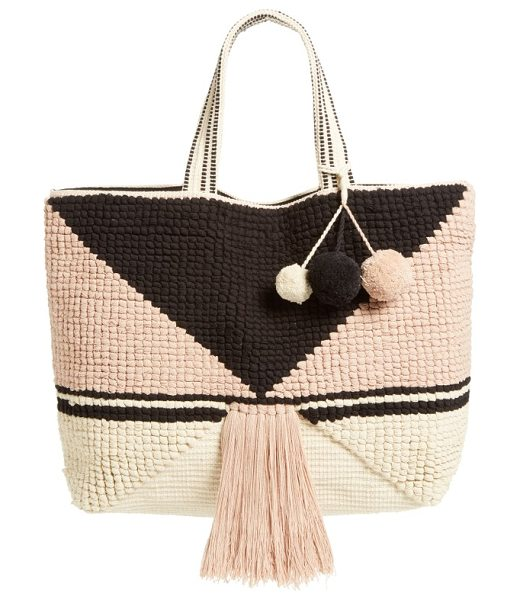 SOLE SOCIETY ibiza tote in pink multi - Dramatic tassels and pompom embellishments play up the...