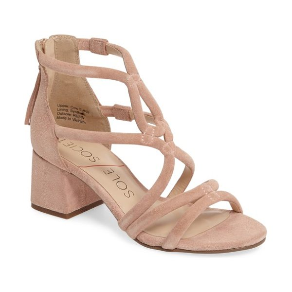 Sole Society jenina block heel sandal in peachy keen - Curvy, sinuous straps converge in a beautiful flourish...