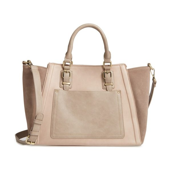 Sole Society 'jensen' mixed media tote in taupe combo - A smart mix of textures and neutral hues makes this...