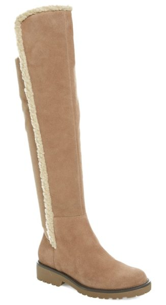 Sole Society juno faux shearling trim boot in taupe