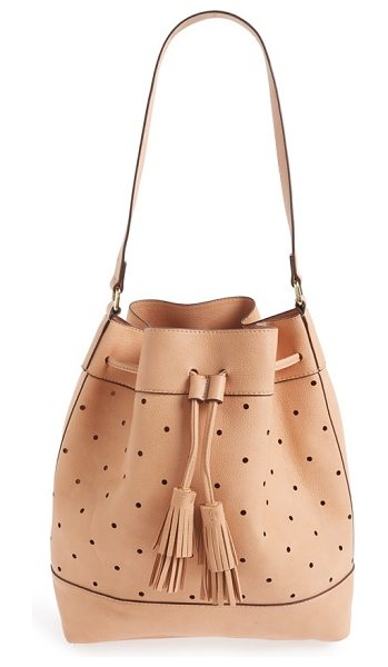 Sole Society 'kattia' perforated faux leather drawstring bucket bag in blush - Buttery-soft faux leather and a lightly structured...