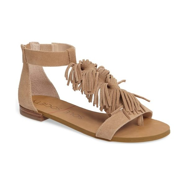 Sole Society koa fringed t-strap sandal in caramel - Bouncy waves of fringe cascade down the T-strap of a...