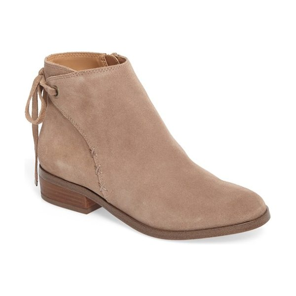 Sole Society lachlan tie back bootie in taupe - A wrap-style bootie that ties casually in back is...