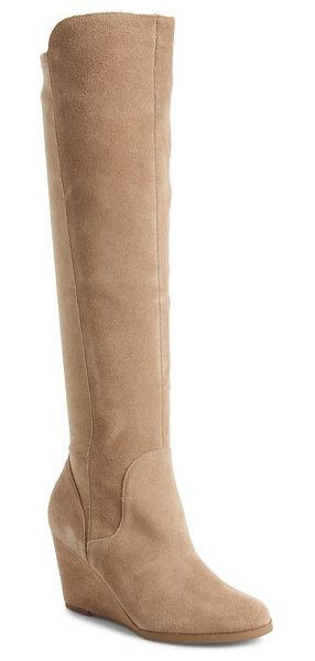 Sole Society laila boot in beige - Sueded microfiber back paneling perfects the fit of a...