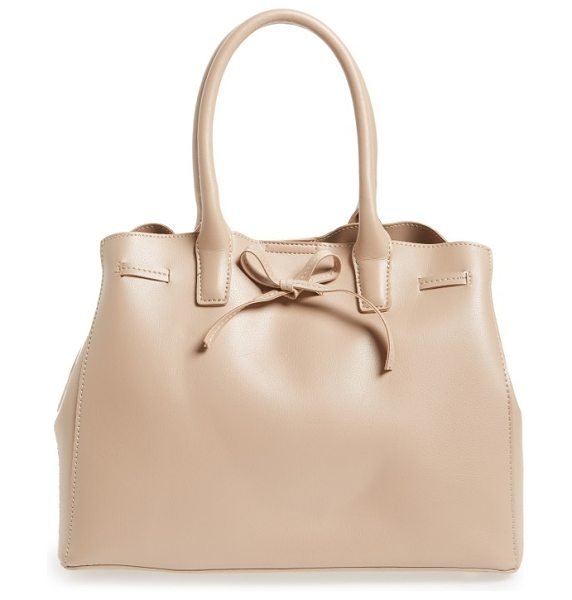 Sole Society layton faux leather satchel in blush - A top drawstring that ties in a bow details an...