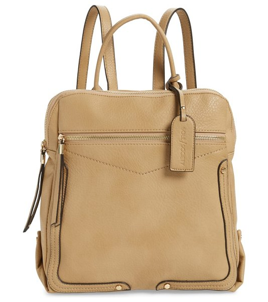 Sole Society ledo faux leather backpack in brown - Topstitched details frame the smart, angular silhouette...