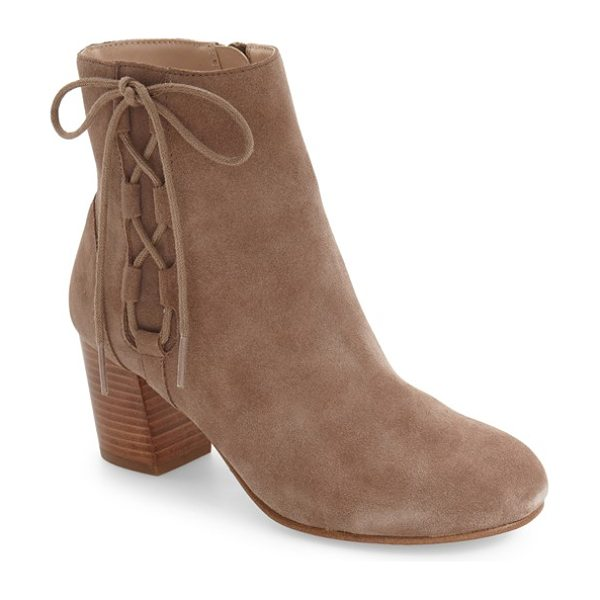 Sole Society renzo bootie in taupe - Side lace detailing and a stacked block heel add a hint...