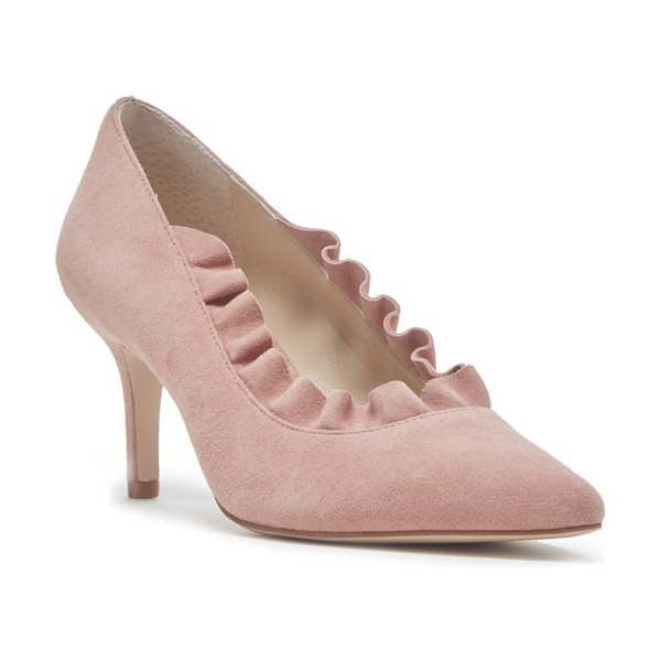 Sole Society ruffle trim pointed toe pump in pink
