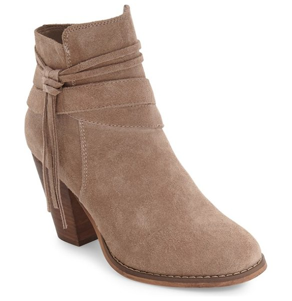 Sole Society rumi bootie in taupe - A tassel embellishment and lofty stacked heel enhance...