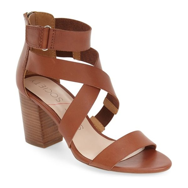 Sole Society sabina block heel sandal in cognac - A trend-right sandal shaped from smooth leather and...