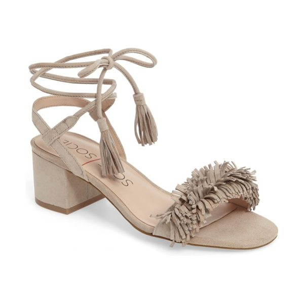 Sole Society sera wraparound fringe sandal in adobe suede