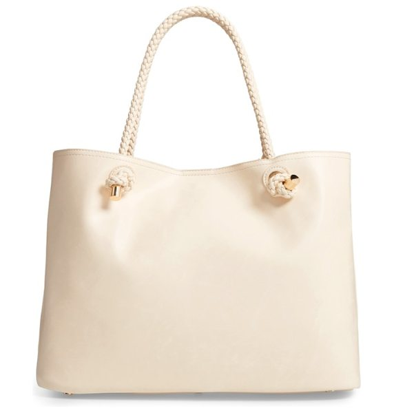 Sole Society shaynelee faux leather tote in cream - Braided shoulder straps tipped with gleaming hardware...