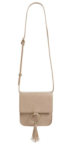 Sole Society square crossbody bag in taupe - A glinting ring and tassel fringe add eye-catching...