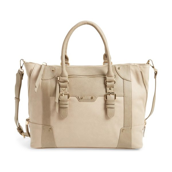 Sole Society 'susan' winged faux leather tote in taupe - A subtle mix of natural hues makes this super-roomy tote...