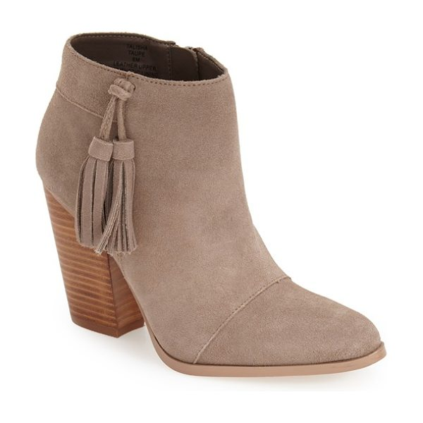 Sole Society talisha tassel bootie in taupe suede - A Western-inspired bootie is shaped from smooth suede...