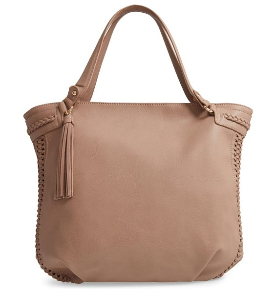 Sole Society tara braided faux leather hobo in beige