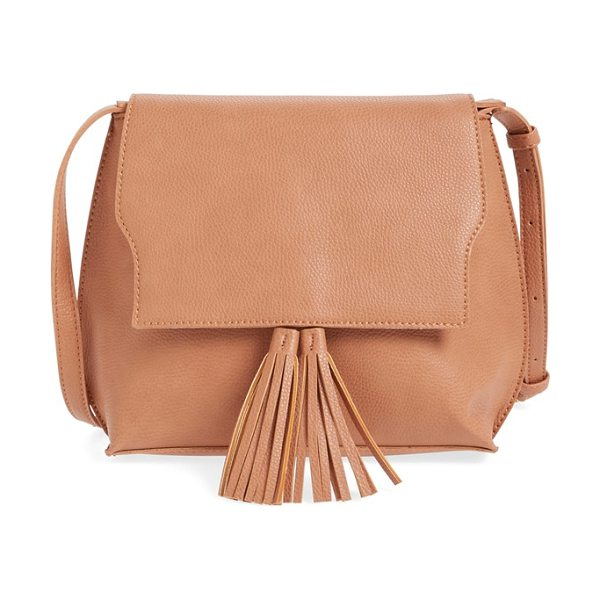 Sole Society Tassel faux leather crossbody bag in clay - A just-right bag with a curvy silhouette, this pebbled...