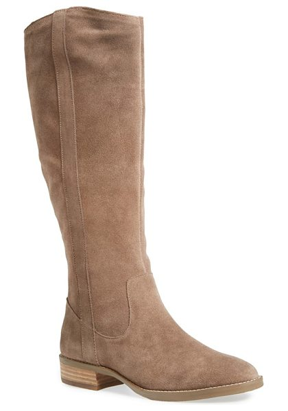 Sole Society teba knee high boot in coffee suede - A Western-inspired boot set on a low, stacked heel is...