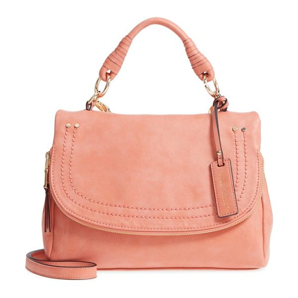 Sole Society top handle faux leather crossbody bag in deep coral - A clean, subtly structured profile enhances the vintage...
