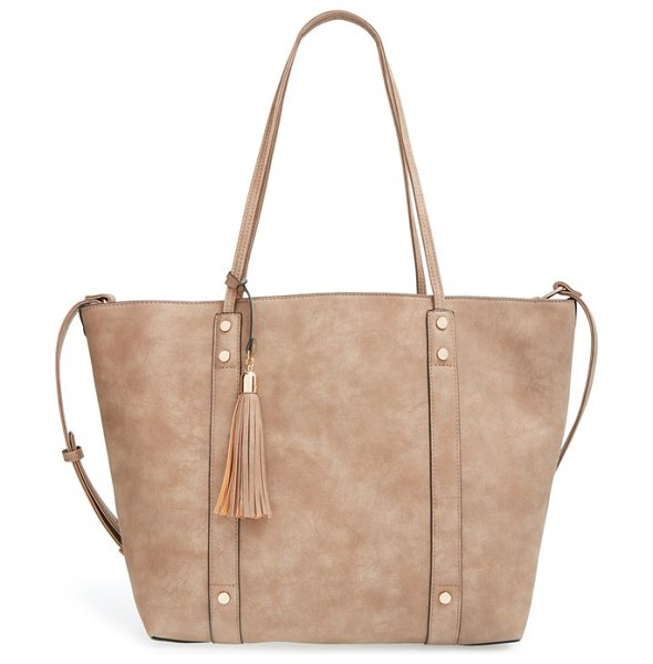 Sole Society Two-in-one faux leather open tote in taupe - Made of durable faux leather with a slight shimmer, this...