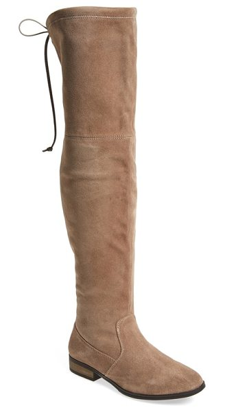 Sole Society 'valencia' over the knee boot in taupe suede - Slender contrast ties in back perfect the fit of an...