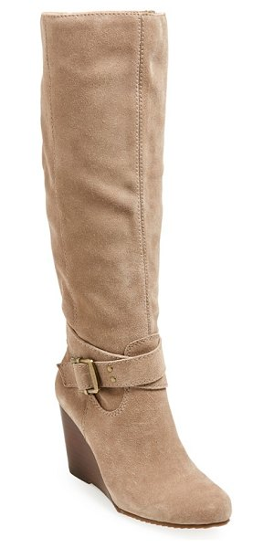 SOLE SOCIETY valentina boot in taupe suede - A striking tall boot features simplified buckle...