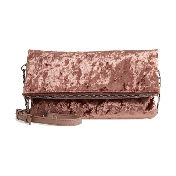 Sole Society velvet foldover clutch in mauve - Lush velvet makes this fold-over clutch a street-style...