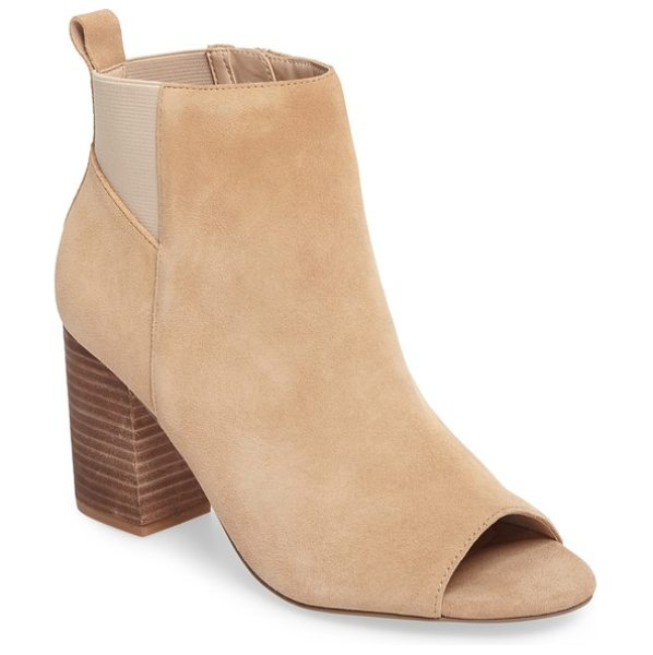 Sole Society vita peep toe bootie in sand suede - Elastic side gores and a chunky stacked heel add stylish...
