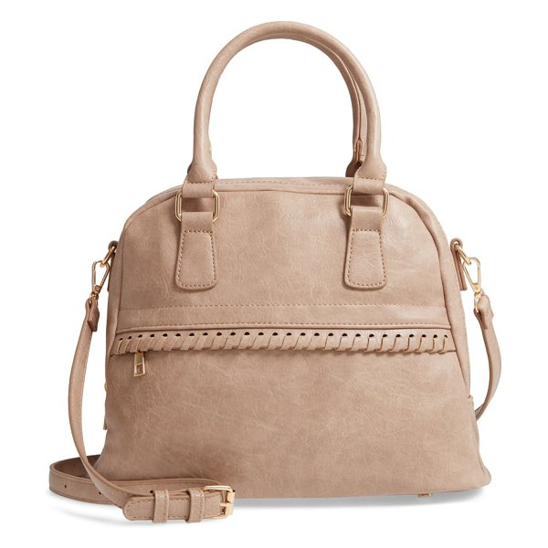 Sole Society vulin whipstitch faux leather satchel in beige