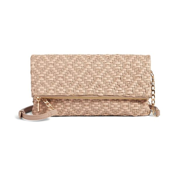 Sole Society lisbeth weave foldover clutch in nude combo - Intricately woven strips of supple faux leather give...